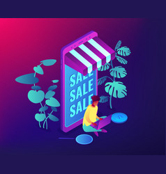 discount online concept isometric vector image