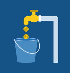 faucet with gold coins vector image