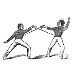 Fencing game vintage vector