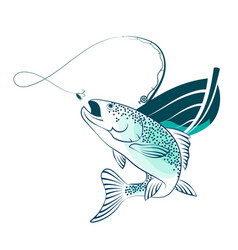 Fish and fishing boat vector