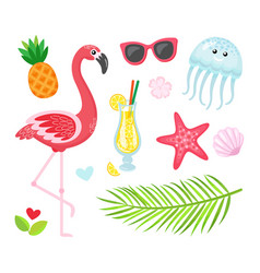 Flamingo cocktail pineapple summer icons vector
