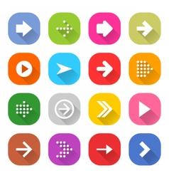 Flat arrow icon set square web button vector