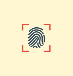flat icon fingerprint element vector image