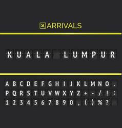 Flight info banner board with kuala lumpur typed vector