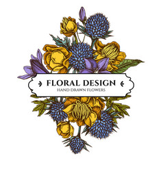 floral bouquet design with colored bellflower vector image