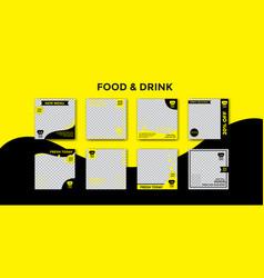 Food and drink social media post design vector