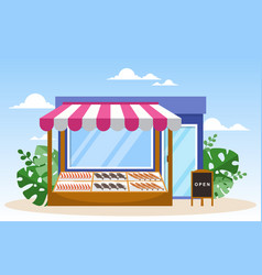 Fresh fruit vegetable store stall stand grocery vector