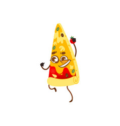 funny pizza slice character smiling human face vector image