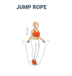 Girl doing jump rope exercise fitness home workout vector