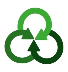 green crossed recycling symbol shape with arrows vector image