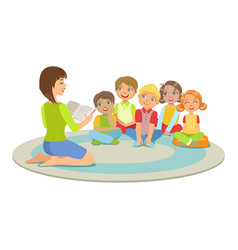 group of small kids sitting around the teacher on vector image