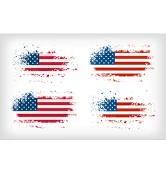 Grunge american ink splattered flag vector image