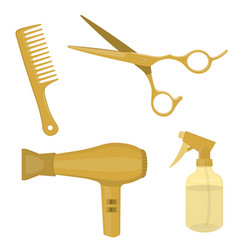 hairdressing equipment gold colored vector image
