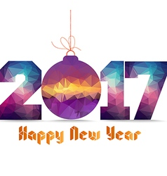 Happy new year 2017 geometrical card with vector