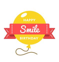 Happy smile birthday greeting emblem vector