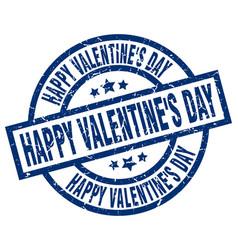 Happy valentines day blue round grunge stamp vector