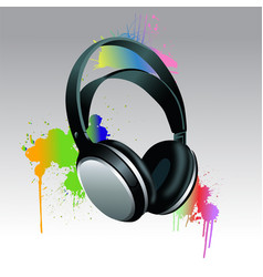 headphones brush paint vector image