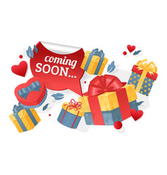 Holiday coming soon gift in a box different vector