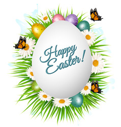 holiday gift card with easter eggs and spring vector image