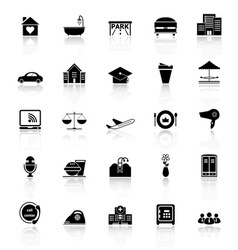 Hospitality business icons with reflect on white vector