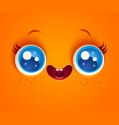 kawaii face with blue eyes vector image
