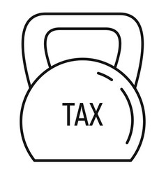 Kettlebell tax icon outline style vector