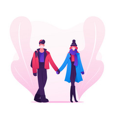 Loving couple characters dating during quarantine vector