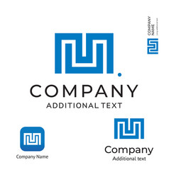m letter technological modern logo business vector image