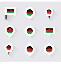 malawi flag and pins for infographic and map vector image