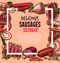meat beef and pork sausage poster food design vector image