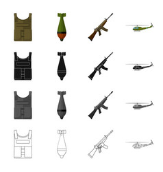 Military bulletproof vest mine machine gun vector