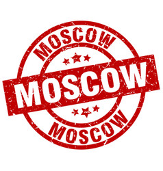 moscow red round grunge stamp vector image