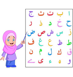 Muslim girl teaching arabic alphabet vector