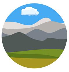 natural cartoon landscape in circle vector image