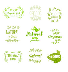 natural fresh product stickers and labels food vector image