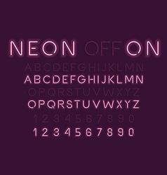 Neon Light Alphabet Font vector image