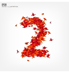 Number 2 numbers with origami paper bird vector