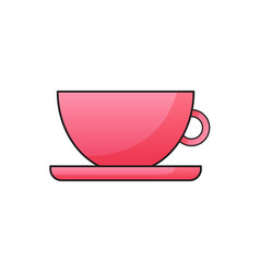 orange cup with saucer vector image