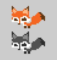 Orange cute pixelated fox mammal set vector