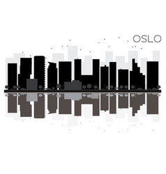 oslo city skyline black and white silhouette vector image