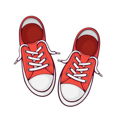 Pair red textile sneaker with rubber toe vector