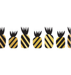 pineapples gold seamless border repeating vector image