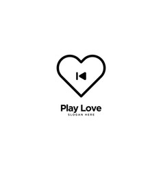 Play love logo outline monoline vector