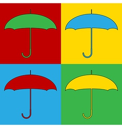 Pop art umbrella icons vector