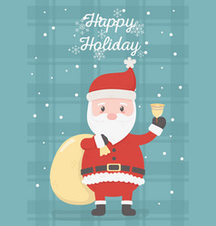santa with bell and bag celebration happy vector image