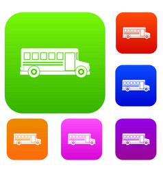 School bus set color collection vector