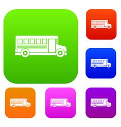 school bus set color collection vector image