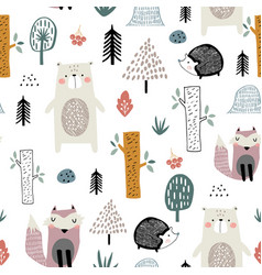 Seamless childish pattern with cute bear fox vector