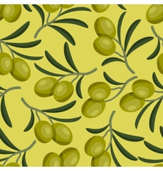 Seamless pattern with fresh ripe olive branches vector