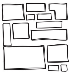 set freehand drawn shape vector image